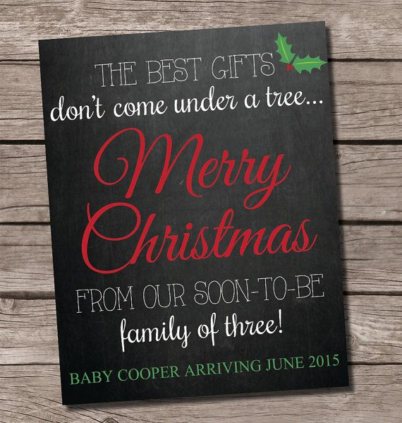 Christmas pregnancy announcement, chalkboard pregnancy announcement,  the best gifts don't come under a tree, facebook pregnancy announcement, pregnancy announcement chalkboard by SweetfaceCelebration on Etsy