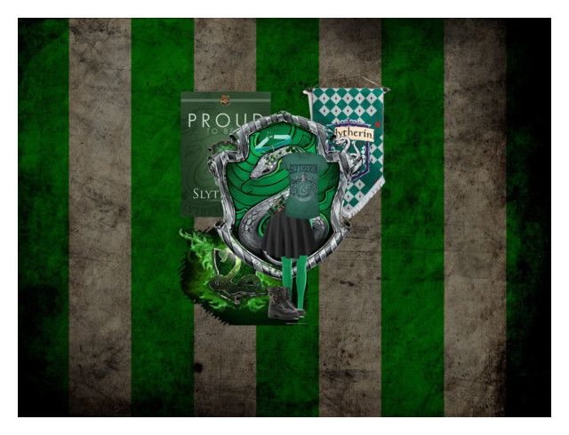 """""""Proud to be slytherin"""" by green-skittle ❤ liked on Polyvore featuring art"""