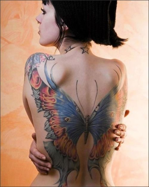 Large Winge Nice Butterfly Tattoo On Full Back For Women ...