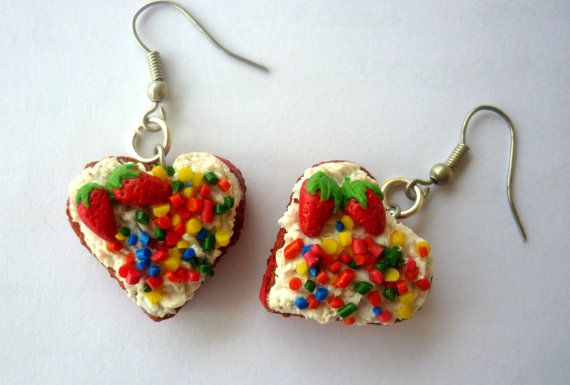 Frosted Polymer Clay Cake heart earringsHeart by jewelryfoodclay