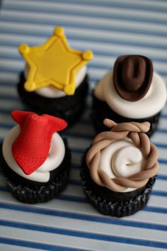 Cowboy Fondant Hat, Lasso, Bandana, and Sheriff Badge Toppers for Cupcakes, Cookies or other Treats. $20.00, via Etsy.