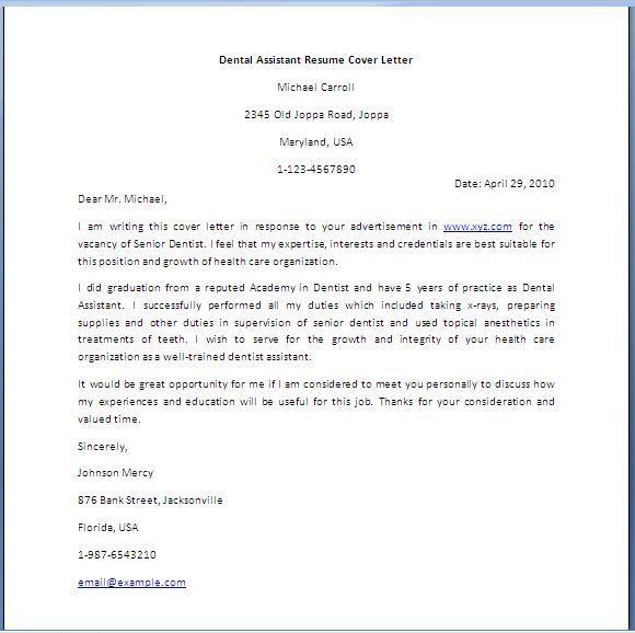 Cover Letter Template Dental Assistant Cover Letter For Resume