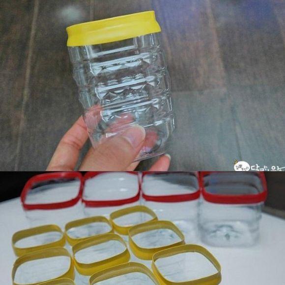 L'idea è semplicissima: si tagliano le bottiglie di plastica, si fanno un paio di giri di nastro isolante colorato e i contenitori per i cassetti da riciclo sono fatti!!!