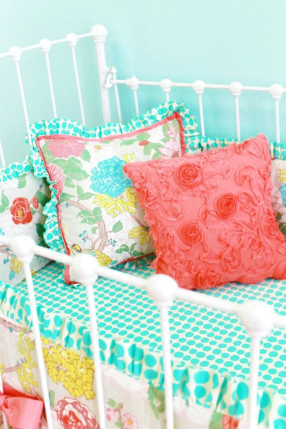 Garden Floral Crib Bedding Accessories by LottieDaBaby on Etsy, $103.00