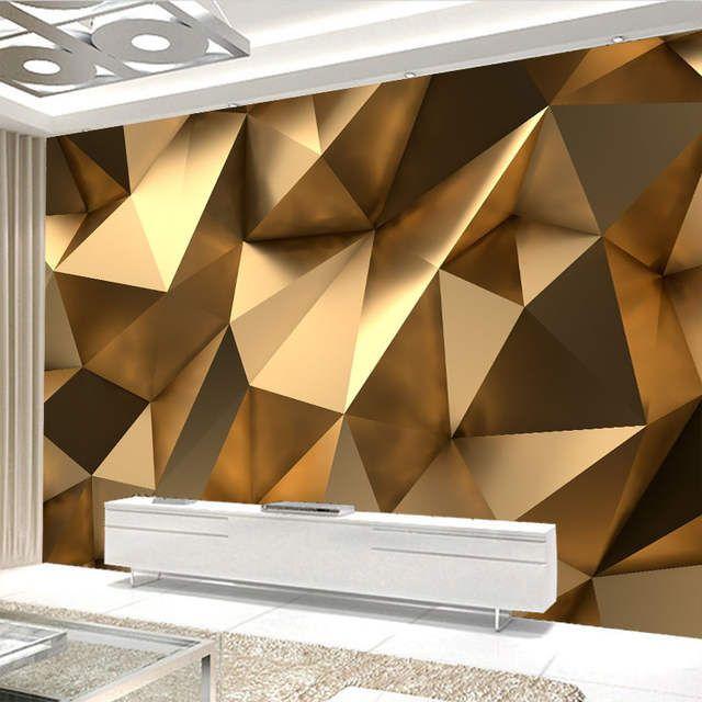 Tienda Online Mural Moderno Creativo Papel Tapiz 3d Estereo Dorado Geometria Arte Tela De Pared Sala En 2020 Decoracion De Pared 3d Decoracion De Pared Tapiz De Pared