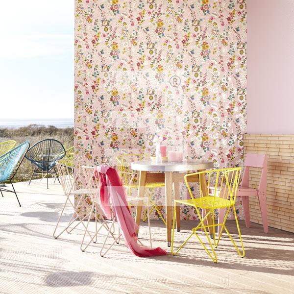 Behang roze met bloemen uit de collectie Ibiza van Eijffinger. Wallpaper Ibiza by Eijffinger #behang #roze #pink
