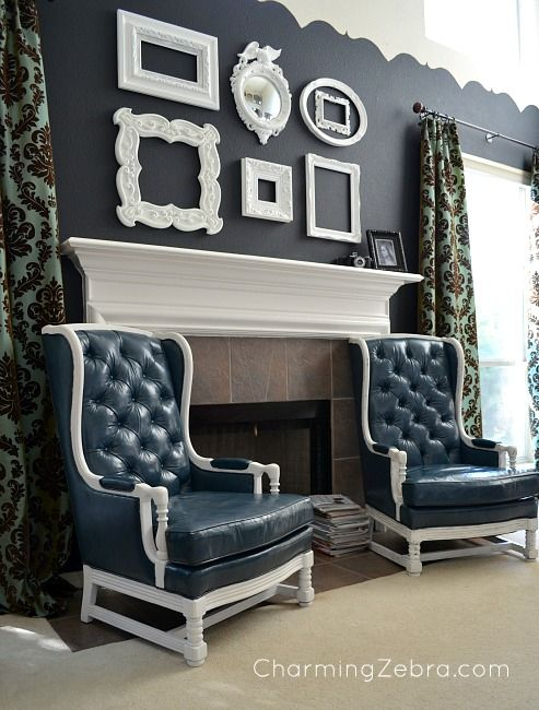 Love how she incorporated these chairs from a law office and made them over, via Charming Zebra