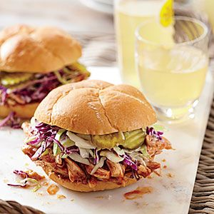 Easy Weeknight Barbecue Chicken | BBQ Chicken Sandwiches with Pickle Juice Slaw | MyRecipes.com