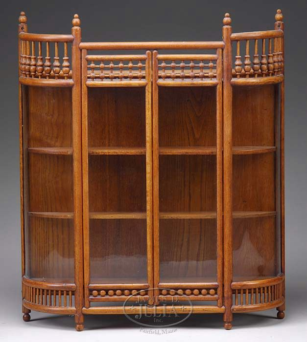 VICTORIAN STICK AND BALL OAK CURIO WALL CABINET AND WALNUT DISPLAY SHELF.
