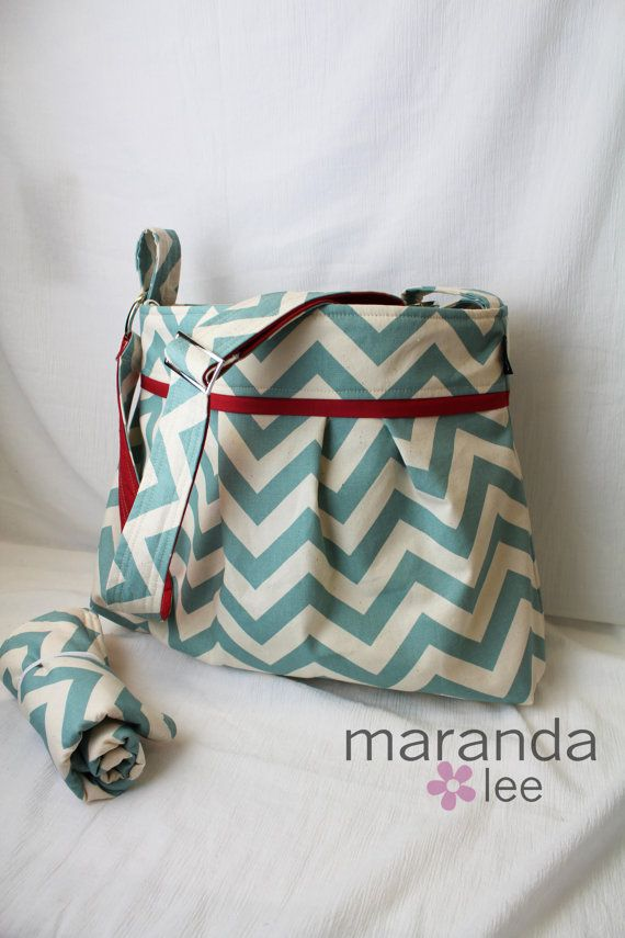 Stella Chevron Diaper Bag Set with Changing Pad in Blue Chevron and Red Elastic Pockets Adjustable Comfort Strap Attach to Stroller on Etsy, $109.00