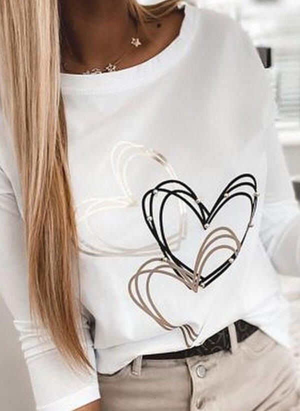 Nadruk Okragly Dekolt Dlugie Rekawy Casual T Shirty 1003318113 Bluzki 318113 Jourlacy Tops Fashion