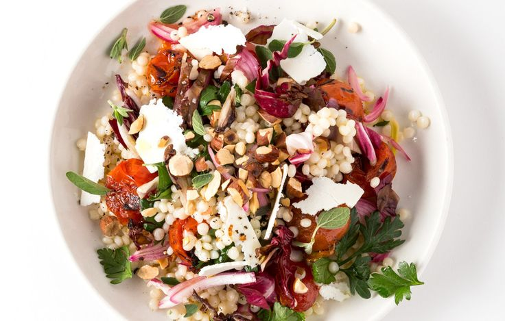 Israeli Couscous and Tomato Salad Use any cooked grain or other small pasta for this bittersweet number. #BonAppetit