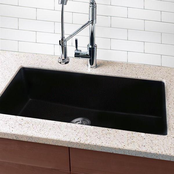 highpoint collection granite composite 33 inch single bowl black undermount kitchen sink sink on kitchen sink id=72492