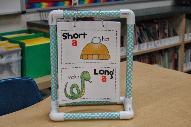 "LOVE this DIY mini anchor chart stand! {Frogs in First: ""All About Vowels"" Anchor/Flip Charts}"