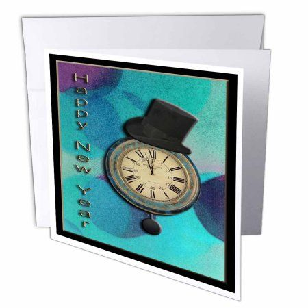 3dRose Top Hat on Clock Happy New Year, Greeting Cards, 6 x 6 inches, set of 12