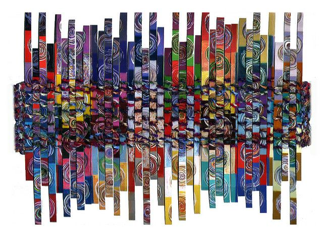 """You Are Here"" paper weaving by Peggy Dembicer. Repinned by Elizabeth VanBuskirk on ""Weaving & Fiber Arts: Favorites."""