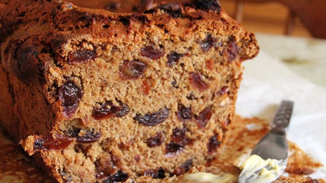 Traditional Welsh bara brith, which translates to 'speckled bread' and is a rich fruit loaf made with tea. Produced all over Wales, the spiced fruit loaf is delicious when spread with salted Welsh butter.