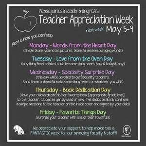 Teacher Appreciation Week schedule - Yahoo Image Search Results