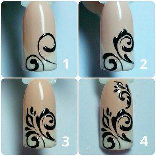 Как рисовать вензеля на ногтях пошагово - фото смотрите в нашей статье. Рекомендации по выбору красок и кистей. Фото уроков и результата.