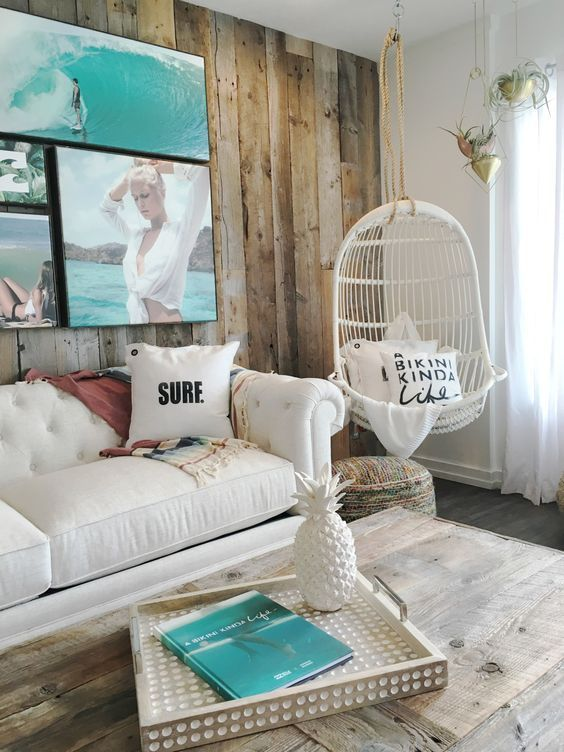 http://interiorsbytaylor.com  Can you picture a better beach shack living room? Laid back vibes and comfortable seating with nautical decor to match.