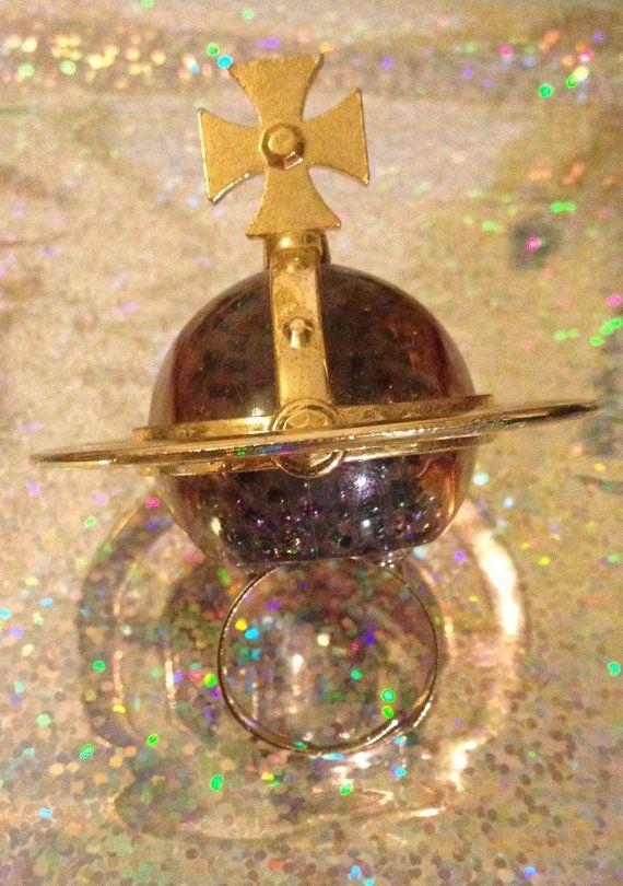 Huge orb statement ring vivienne westwood by VINTAGEnKITSCH upcycled perfume bottle £10
