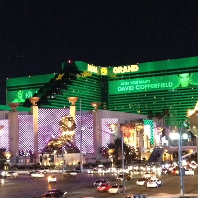 Mgm Hotel In Las Vegas Hollywood Suite With The Glow Of Green Coming Thru