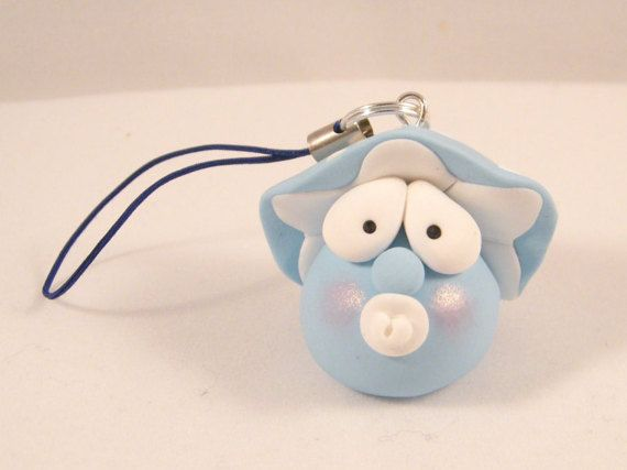 Baby funghetto azzurro con ciuccio in fimo - light blue polymer clay baby mushroom with pacifier