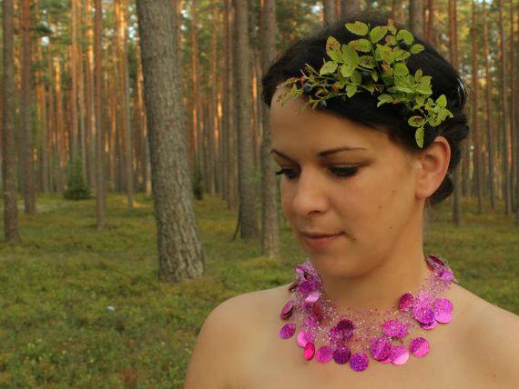 Ketten mittellang - Hot Pink Aussage Halskette - ein Designerstück von SalixCinerea bei DaWanda