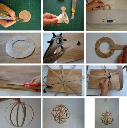C mo hacer una l mpara con chapa de madera diy l mparas - Como hacer una lampara de techo moderna ...