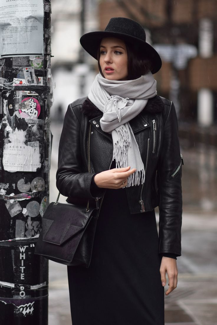 Leather jacket hijab - Big Scarves And Fedora Hats Are Perfect Winter Items They Are Practical And Elevate Any