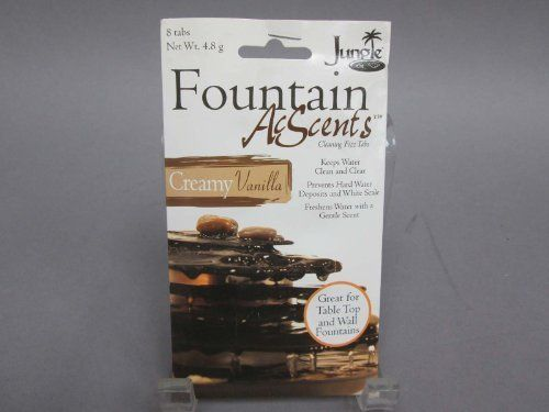 Fountain Acscents Water Treatment for Table Top & Wall Fountains Creamy Vanilla by Fountain AcScents. $2.99. Fountain Cleaner. AcScents. Creamy Vanilla. Fountain AcScents fizz tabs will make the beauty of your fountain last.    This scent:  CREAMY VANILLA  Each tab helps keep water clean and clear of hard water deposits, white scale and foam.  The water stays fresher longer with a gentle scent that makes your fountain even more enjoyable.  8 fizz tabs Keeps water clean a...