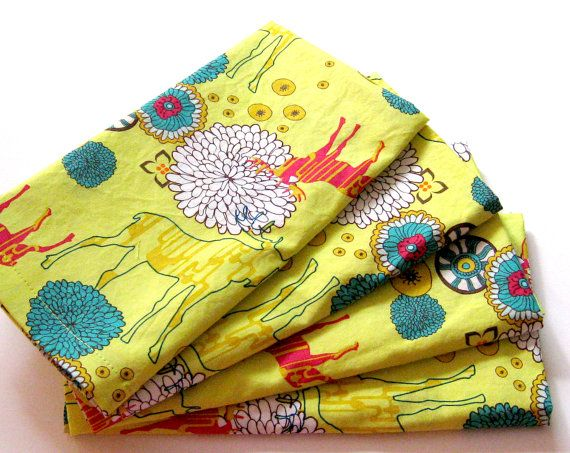Cloth Napkins  Sets of 4  Bright Yellow Moose by ClearSkyHome
