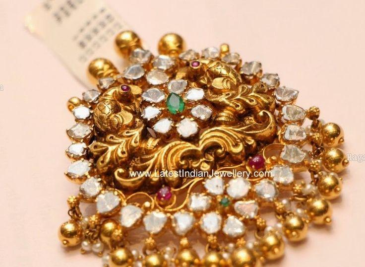 nakshi gold peacock design pendant
