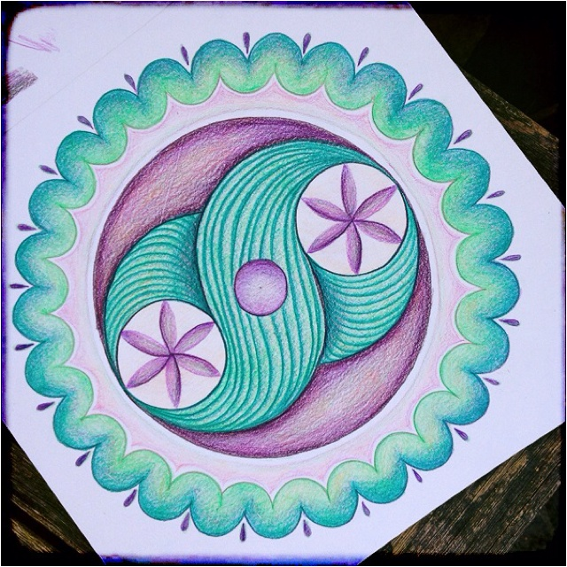 Mandala in mint and purple. Crop circle design. By Kim Vermeer.
