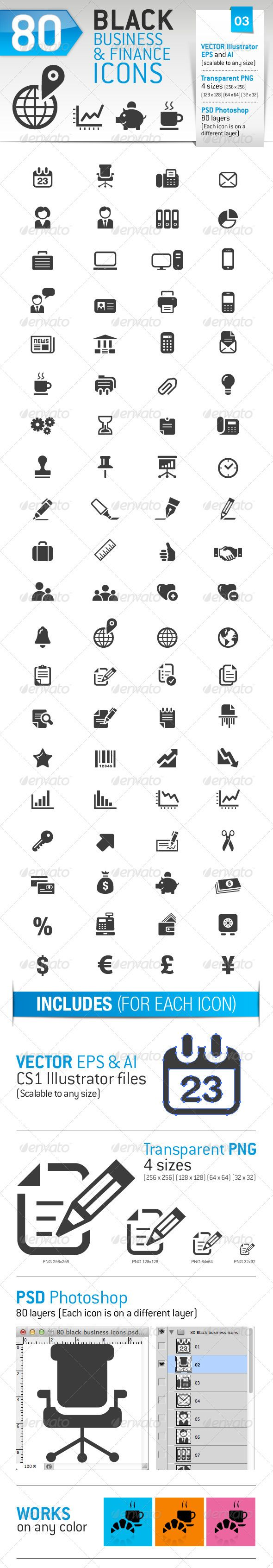 80+Black+Business+and+Finance+Icons