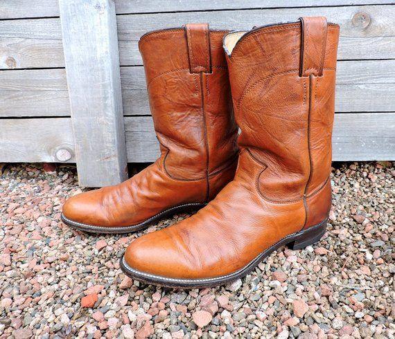 07898fe55e4 Vintage cowboy boots 9 D / Mens Justin roper boots / brown leather ...