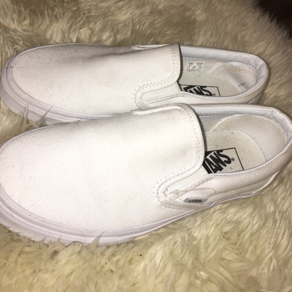 White Slip on Vans Worn once, almost perfect condition. Vans Shoes Sneakers