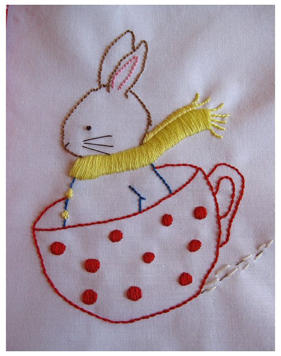 Hand Embroidery PDF Pattern Happiness is a Cup of Tea by Bumpkin on Etsy