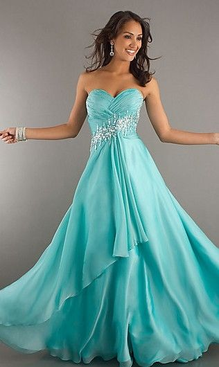 Aqua Long Asymmetrical Beaded Pleated Evening Dress