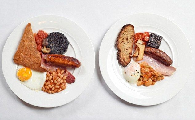 The fried breakfast (left) contains 1,035 calories whilst the steamed breakfast has only 533 calories