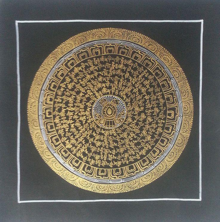 Vase of Sacred Water Mantra Buddha Mandala Thangka Painting Canvas C32