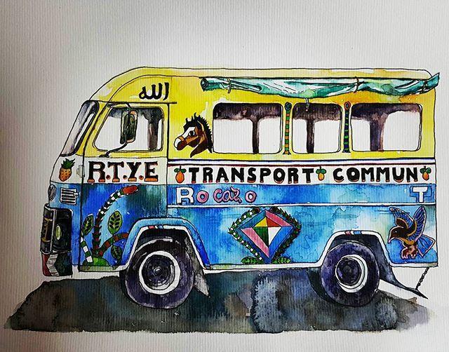 Vvvvrooooom . . . . . #goodmorning #watercolor #pendrawing #illustration #bus #transport #coloring #artstagram #artstudio #ground37c #art #daily #강남역 #신논현 #취미미술 #수채화 #일러스트 #버스 #그림스타그램 #열심히했다 #일상 #월요일아침