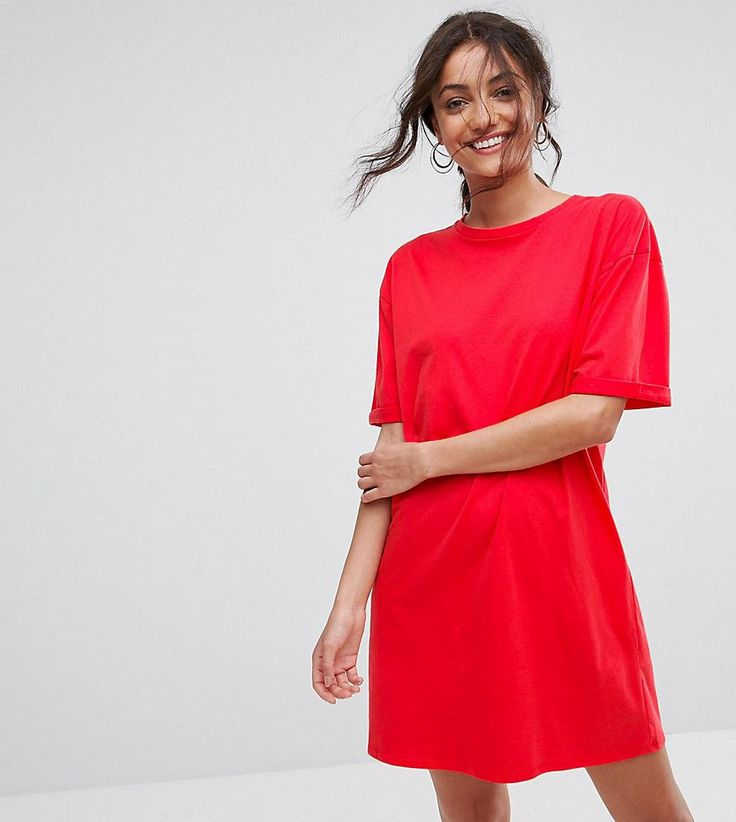 ASOS TALL Ultimate T-Shirt Dress with Rolled Sleeves - Red