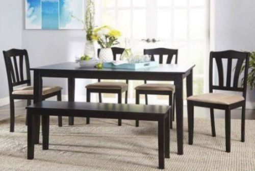 Dining Sets 107578: Metropolitan 6-Piece Dining Set With Bench, Black -> BUY IT NOW ONLY: $200 on eBay!