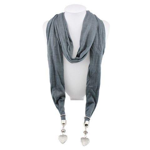 Trendy Pattern Carved Heart Pendant Scarf – teeteecee - fashion in style