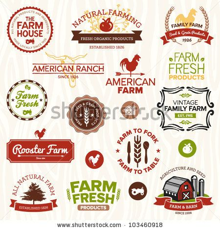 Stock Vector Illustration: Set of vintage and modern farm logo labels and designs