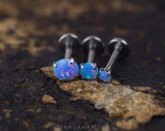 triple helix earring cartilage earring tragus earring cartilage piercing forward helix piercing 16g blue fire opal internal threading base
