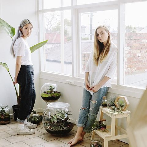 So excited to share with you the talented duo Charlotte Nicdao and Bayden Packwood Hing from @plantbypackwood who create little dreamy landscapes in the form of artisan terrariums bringing nature back to city living. Photography: @teaganglenane Models: Marny Kennedy and Helena Dong. To read their story click the link on our bio page or visit www.winkelenmagazine.com.au.  Check this out on Instagram.com
