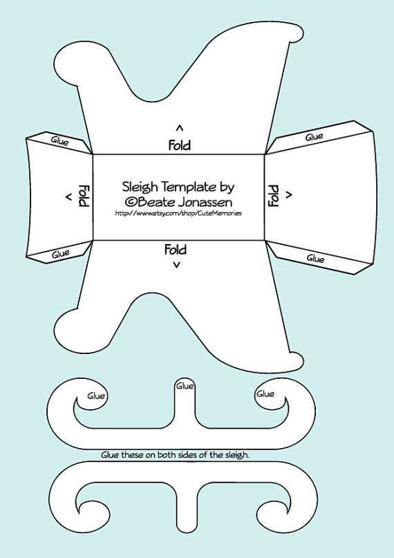 DIY Paper Crafts Sleigh Template by CuteMemories on Etsy, $2.00