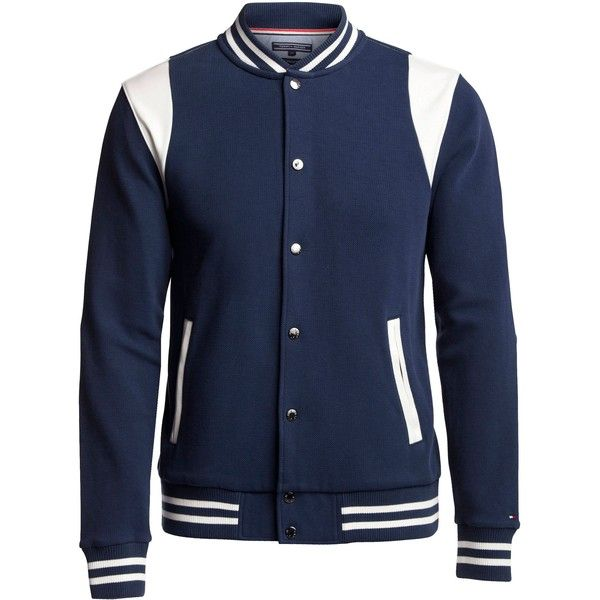 Tommy Hilfiger Brad Bomber Jacket ($135) ❤ liked on Polyvore featuring men's fashion, men's clothing, men's outerwear, men's jackets, sale men knitwear, mens blouson jacket, mens bomber jacket, tommy hilfiger mens jackets and mens cotton bomber jacket